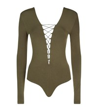 Alexander Wang T By Lace Up Bodysuit Female Green