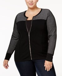 Calvin Klein Plus Size Pointelle Cardigan Black White