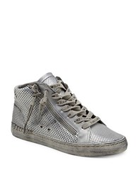 Dolce Vita Zabra Perforated Leather Sneakers Silver