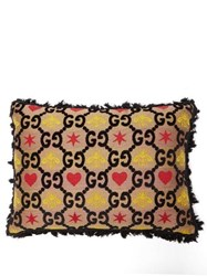 Gucci Gg Bee And Star Jacquard Cushion Black Multi