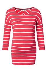 Noppies Women's Lila Stripe Maternity Tee Red