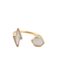 Marie Helene De Taillac Chalcedony Lightning Bolt And Cloud Ring White