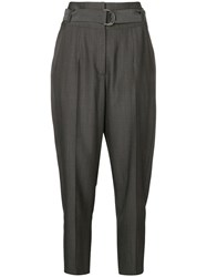 Luisa Cerano Belted Tailored Trousers Grey