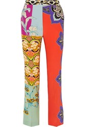 Etro Printed Silk Flared Pants Coral