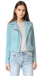 Doma Who Cropped Suede Moto Jacket Sea