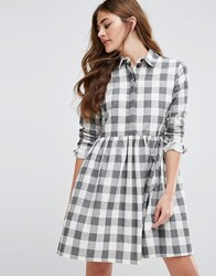 Asos Gingham Smock Shirt Dress Multi