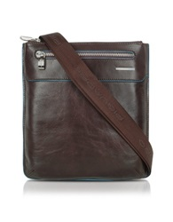 Piquadro Blue Square Slim Leather Messenger Bag Dark Brown