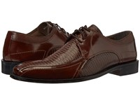 Stacy Adams Graziano Leather Sole Bike Toe Oxford Cognac Men's Lace Up Casual Shoes Tan