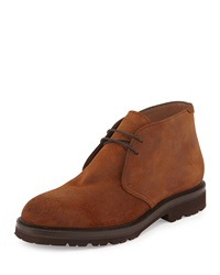 Waxed Suede Chukka Boot Rust Brunello Cucinelli