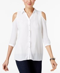 Ny Collection Petite Cold Shoulder Blouse White