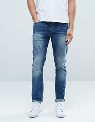 Only And Sons Classic Wash Slim Fit Jeans With Stretch Mid Blue Denim