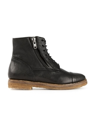 Silvano Sassetti Side Zip Lace Up Boots Black