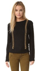 Endless Rose Studded Cable Sweater Black