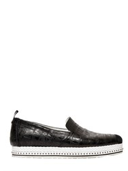 Roberto Cavalli Croc Embossed Leather Slip On Sneakers