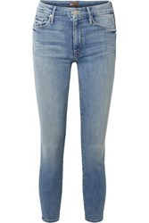 Mother The Looker Cropped High Rise Skinny Jeans Mid Denim