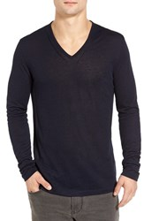 John Varvatos Men's Star Usa Long Sleeve V Neck T Shirt Marine