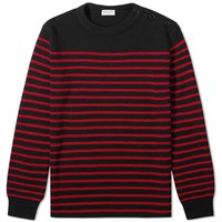Saint Laurent Stripe Sailor Crew Knit Red
