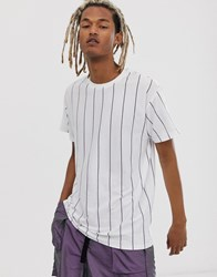 New Look Vertical Stripe T Shirt In White