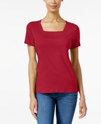 Karen Scott Square Neck T Shirt Only At Macy's New Red Amore