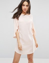Ax Paris Split 3 4 Sleeve Chiffon Dress Peach Pink