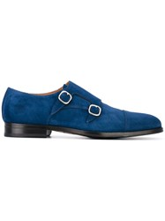 Doucal's Classic Monk Shoes Men Leather Rubber 44.5 Blue