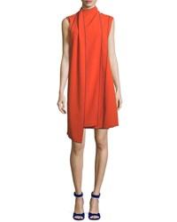 Piazza Sempione Sleeveless Layered Scarf A Line Dress With Piping Orange