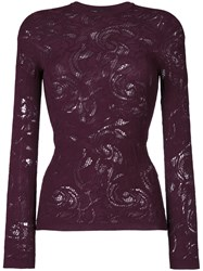 Versace Lace Baroque Knit Top Women Polyester Viscose 42 Pink Purple