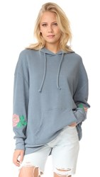 Wildfox Couture Rose Embroidered Sweatshirt Vision Blue