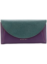 Marni Foldover Top Wallet Pink And Purple