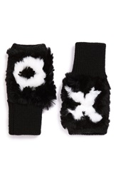 Jocelyn 'Xo' Genuine Rex Rabbit Fur Trim Fingerless Mittens Black