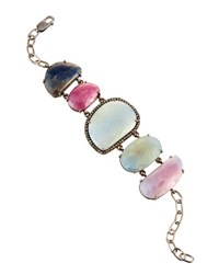 Bavna Multicolored Sapphire And Diamond Station Bracelet