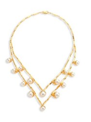 Tory Burch Faux Pearl Bud Multi Strand Necklace Gold