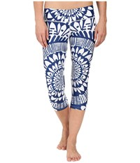 Mara Hoffman Peacefield Cropped Leggings Navy White Women's Casual Pants Blue