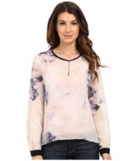 Ellen Tracy Keyhole Flared Blouse Dream Pixel Petal Women's Blouse Pink