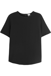 Iris And Ink Silk Crepe De Chine T Shirt Black