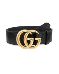 Gucci Men's Leather Belt With Double G Buckle Black