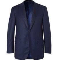 Canali Navy Super 120S Micro Checked Wool Suit Jacket Blue