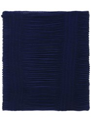 Armani Collezioni Pleated Scarf Women Polyester One Size Blue