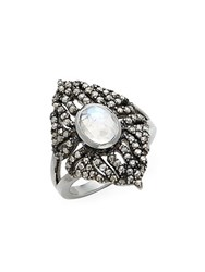 Bavna Rainbow Moonstone Champagne Diamond And Sterling Silver Ring No Color