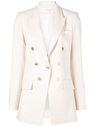 Veronica Beard Classic Double Breasted Blazer White