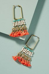 Anthropologie Coral Reef Hoop Earrings Turquoise