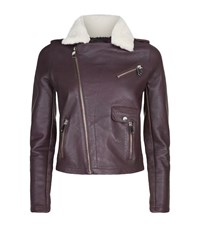 Maje Bluff Leather Biker Jacket Female Aubergine
