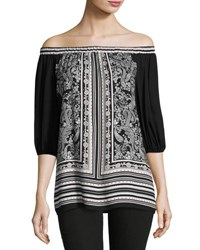 Max Studio Printed Off The Shoulder Tunic Black Pattern