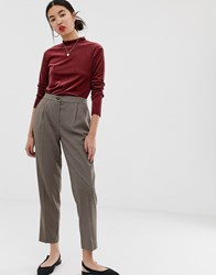 New Look Check Trousers In Brown Pattern Brown Pattern