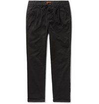Barena Vettor Stino Tapered Pleated Stretch Cotton Twill Trousers Black
