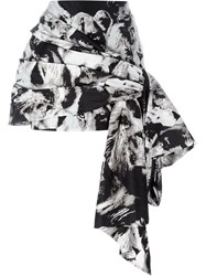 Roberto Cavalli Printed Draped Mini Skirt Nude And Neutrals