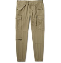 Ralph Lauren Purple Label Tapered Wool Gabardine Cargo Trousers Neutral