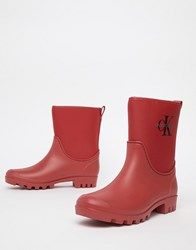 Calvin Klein Jeans Philippa Red Ankle Wellington Boots