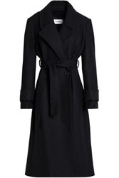 Chalayan Belted Brushed Wool Blend Coat Midnight Blue