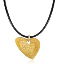 Stefano Patriarchi Etched Golden Silver Small Heart Pendant W Leather Lace